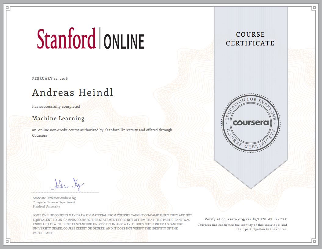 Stanford Course Certificate Machine Learning